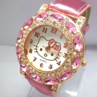 leather strap Hello Kitty Crystal Watches