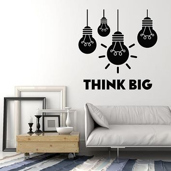 Vinyl Wall Decal Think Big Office Room Bulb Lamp Idea Lettering Stickers Mural (g2915)