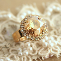 Topaz champagne adjustable ring Rhinestones - 14k 1 Micron thick plated gold adjustable ring real swarovski rhinestones.