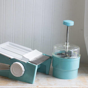1950's Vintage Chop-O-Matic with Dial-O-Matic Food Slicer in Turquoise Blue, 50's Aqua Kitchen Gadgets