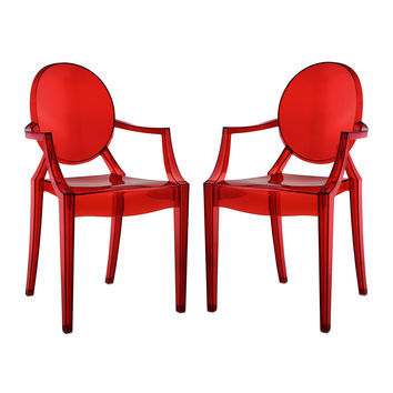 Modway Furniture Eei-905-red Set of 2 Casper Dining Armchairs Red - 22 X 21 X 36 in