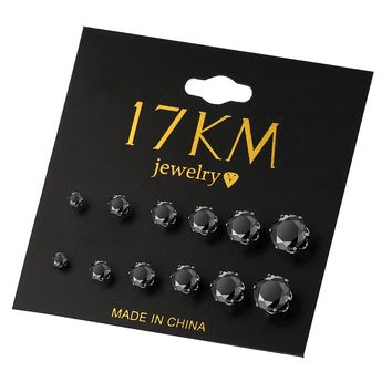 17KM Brincos Black Cubic Zircon Stud Earring Set Piercing Punk Style 2017 Fashion Earrings For Women Bijoux Jewelry 6 Pairs/lot