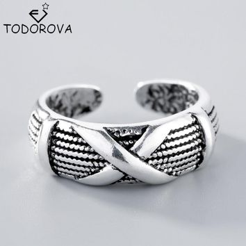 Todorova 925 Sterling Silver Lovers' Wedding Rings X Shape Black Thai Silver Old Silver Opening Rings for Men Women