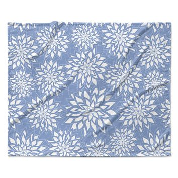 "Julia Grifol ""Blue Garden"" Aqua White Fleece Throw Blanket"