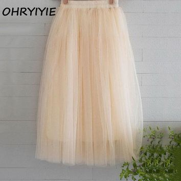 MDIGDZ2 OHRYIYIE Tulle Skirts Womens 2017 Summer Fashion High Waist Long Skirt Elastic Waist Sun Fluffy Tutu Skirt Jupe Longue Femme