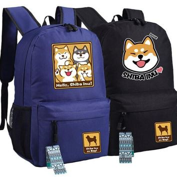 Cutie Dog Shiba Inu Big Smile Face Canvas Backpack Canvas School Bag Xmas Gift 45x32x12cm