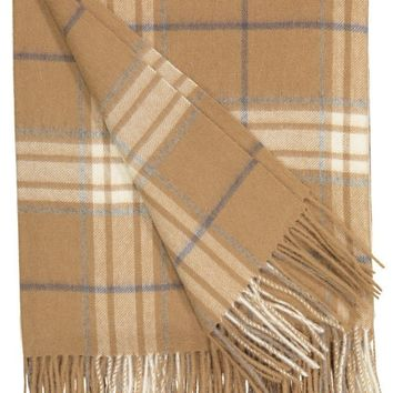 Rocky Mountain Plaid Throw in Camel