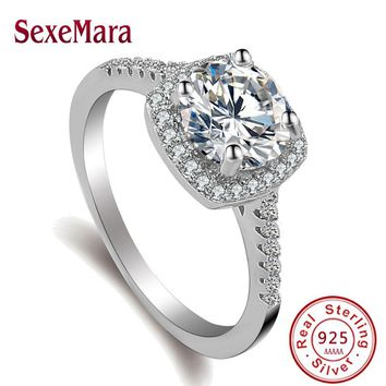 2 ct CZ Crystal Rings Female Ring Bijoux 925 sterling-silver-jewelry Zirconia Engagement claddagh ring For Women anillos mujer