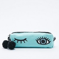 Blue Winking Eye Pencil Case in Cyan - Urban Outfitters