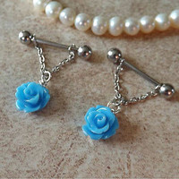 Blue Rose Flower Nipple Ring 14ga Barbell Body Jewelry Stainless Steel 1 Set