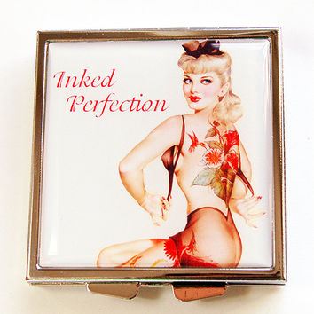Tattoo pill case, Inked Perfection, Pill Case, Pill Box, 4 Sections, Square Pill case, Pin Up, Retro, Tattoo woman, tattoo pill box (4452)