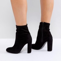 Call It Spring Black Sock Heeled Ankle Boots at asos.com