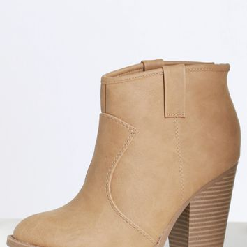 Faux Leather Ankle Boots Taupe