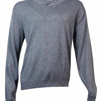 Ryan Seacrest Distinction Men's Modern Shawl-Collar Sweater (Flannel Heather XL)