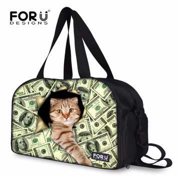 FORUDESIGNS Money Cat Prints Traveling Luggage Bags Cute Carry On Travel Bag Weekend Bags Duffle Overnight Tote Bolsa Feminina