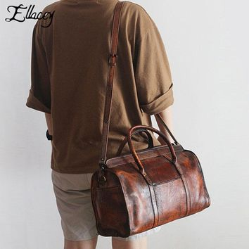 2017 New Stylish Men Genuine Leather Manual Handbag Designer Vintage Style Travel Shoulder Bag Cow Leather Luggage Trunk Bag