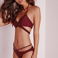 Missguided - Strappy Bikini Set Burgundy