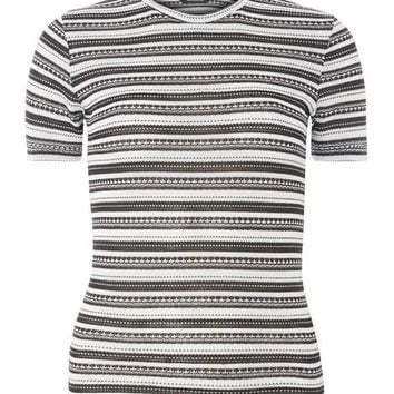 Black and ivory stripe knitted tee - New In Clothing - New In