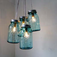 Antique Blue - Mason Jar Chandelier - 4 blue quart jars - Handcrafted Mason Jar Lighting Fixture - Upcycled BootsNGus Lamp - Direct Hardwire