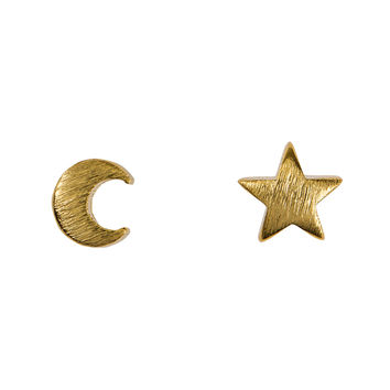 Moon and Star Stud Earrings in Gold