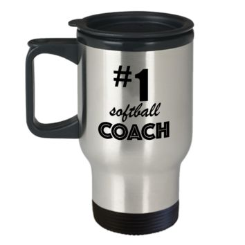 #1 Softball Coach - Coffee Travel Mug Gift