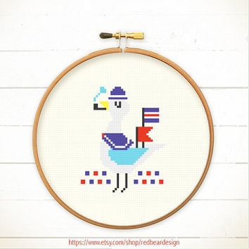 PDF counted cross stitch pattern - Captain Seagull Relax Time - Instant download - Happy Kawaii seagull, lovely seaside beach  with sunshine