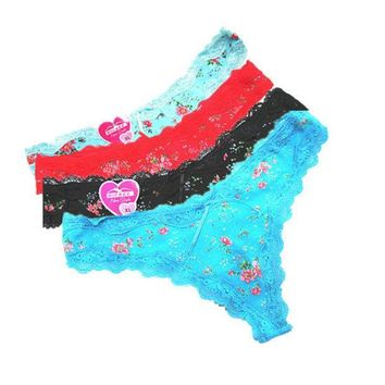 CREYHY3 2016 New Fashion Sexy Lace Panties Cute women Cotton Thongs Low Waist Print Flower Briefs With Bow