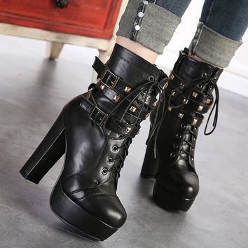 Winter Rivet Thick Crust High Heel Slim Dr Martens Boots [6044950209]