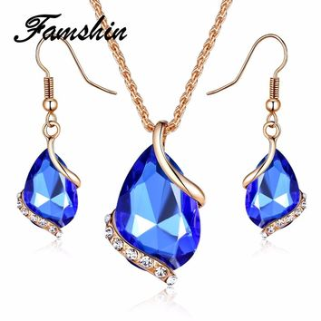 FAMSHIN Bridal Wedding Accessories Gold Color Love Crystal Jewelry Sets For Women Pendent Necklace Hook Earrings Jewellery Set