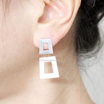 Open Squares, Square Front and Back earrings,Cube Front and Back earrings in 2 colors