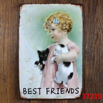 DOG IS BEST FRIENDS Retro Metal Tin Sign decor Home Bar Party Wall Funny Movie Poster Painting Gift 20*30CM A-37219