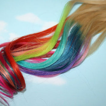 Rainbow Dipped Dyed Hair,  iTips, Pre Bonded Keratin Tip, Human Hair Extensions. Colored Hair, Festival, Tie Dye Hair Extensions