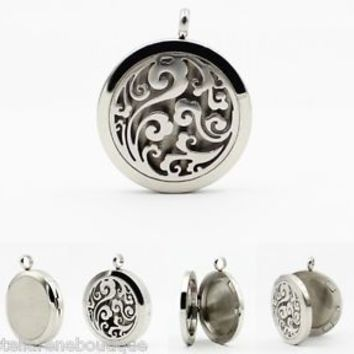 316L Stainless Steel Clouds Round Essential Oil Diffuser Necklace Aromatherapy