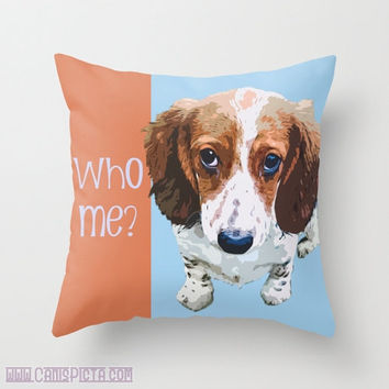 "Dachshund, Pet Graphic Print 16"" x 16"" Throw Pillow Cover - Couch Art, Melon, Orange, Light Blue, Puppy Dog Eyes, Piebald, Love"