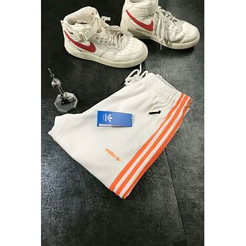 Adidas Popular Women Men Retro Orange Three-Stripe Embroidery Logo Sport Drawstring Stretch Pants Trousers Sweatpants I-AG-CLWM