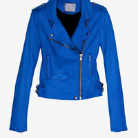 IRO EXCLUSIVE Ashville Leather Jacket: Blue-Just In-Clothing-Categories- IntermixOnline.com