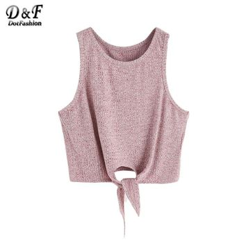 Women Summer Tops Casual Blouse Tank Tops Sleeveless Burgundy Marled Tie Front Ribbed Crop Tank