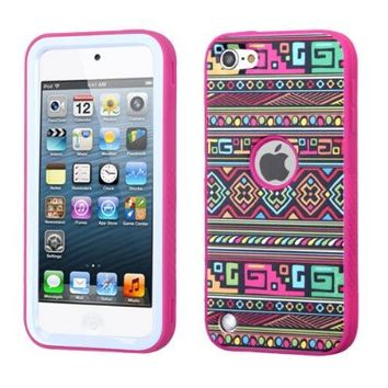 iPod Touch 6th Gen Case, iPod Touch 5th Gen Case, Luxca (Tm) iPod Touch (5th Generation) (6th Generation) Dual Layer Verge Hybrid Soft Silicone Cover Hard Plastic Case + Clear LCD Screen Protector + Stylus Pen (Vintage Damask / Pink Verge)