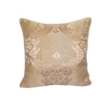 "Satin Damask Pattern 18""x18"" Pink/Cream Pillow Case/Cushion Cover"