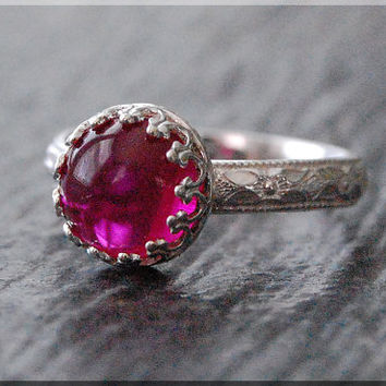 Ruby Ring, July Birthstone Ruby Ring, Crown Bezel Set Ruby Ring, Sterling Silver Ruby Ring, Cocktail Ring, Flawless Ruby Engagement Ring