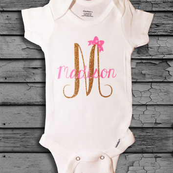 Personalized Monogram Glitter Baby Girl Onesuit with Bow