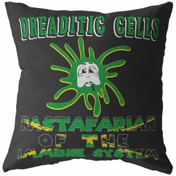 Funny Biology Pillows Dreaditic Cells Rastafarian Of The Immune System