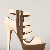Qupid Confess-53 Two Tone Caged Strappy Stiletto Heel