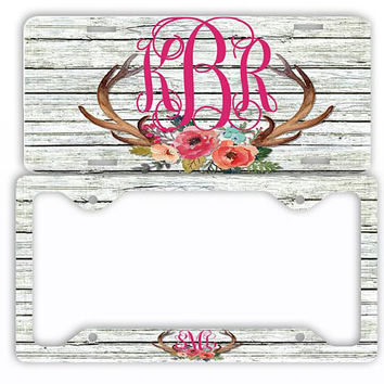 Wood Watercolor Antlers Flowers License Plate Car Tag Monogram Frame Personalized Set Custom Initials Car Coasters Floral White Distressed