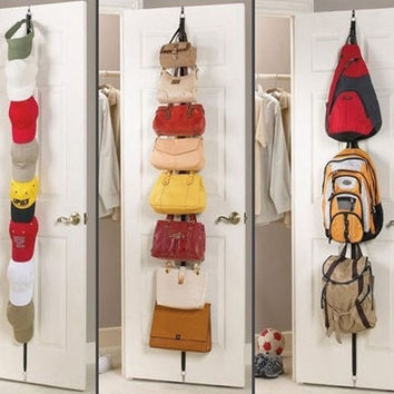 Over Door Adjustable Straps Hanger Hat Bag Clothes Coat Rack Organizer 8 Hooks = 1930483524