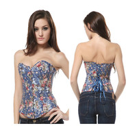 Body Waist Shaper Sexy Palace Denim Steel Boned Slim Corset [4965268932]