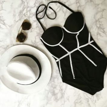 One Piece Black High Waist Bikini swimsuit Set BK038