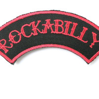 "ROCKABILLY Red Logo Iron On Sew On Embroidered Patch 4""/10cm"