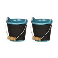Chalkboard Beach Pail Ceramic Ornaments - Set of 2