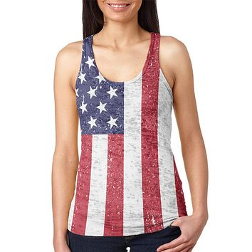 4th of July American Flag Distressed Juniors Burnout Racerback Tank Top
